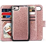 iPhone 8 Wallet Case, iPhone 7 Wallet Case, Miss Arts Glitter Detachable Slim Case with Car Mount Holder, 9 Card/Cash Slots, Magnet Clip, PU Leather Cover for Apple iPhone 7/8 -Rose Gold