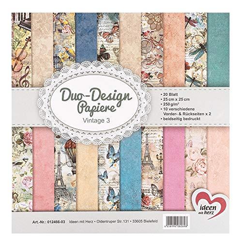 Ideen mit Herz Duo-Design-Papiere | Block mit 20 Blatt Bastelpapier | 25 x 25 cm | 250g/m² | beidseitig Bedruckt | Designpapier, Motivpapier | ideal für Scrapbooking, Basteln (Vintage 03)