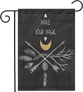 "Awowee 12""x18"" Garden Flag Bohemian Arrows and Branch Crossed on Boho Moon Shaman Outdoor Home Decor Double Sided Yard Fla..."