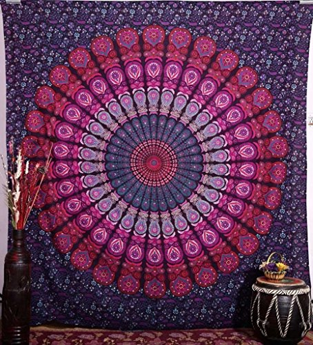 Craftozone Multicolored Mandala Tapestry Indian Wall Hanging, Bed Sheet, Comforter Picnic Beach Sheet, Quality Hippie (Pink, Double)