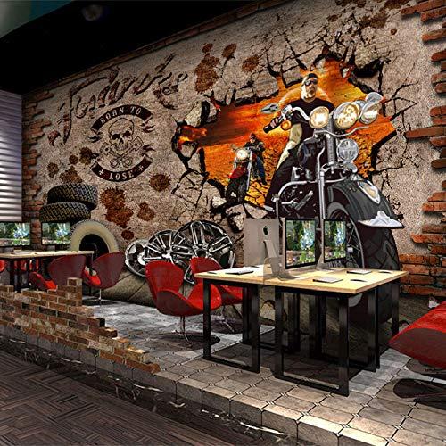 Fototapete Tapete 3D Tapetenwand Europa Und Die Vereinigten Staaten Retro Ziegel Wandbild Punk Harley Motorrad Tapete Wifi Hintergrund Wand Bar Tapete Ktv Nahtlose Wandverkleidung-200Cmx140Cm