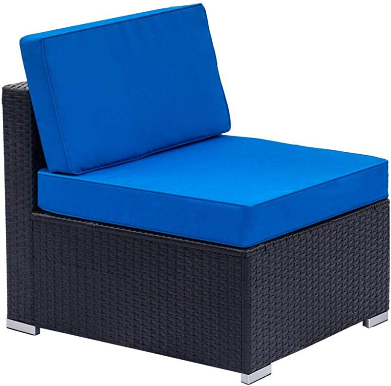 Dalilylime Fully Equipped Woven Rattan Blue And Black Sofa Set It Has 2 Corner Sofas And 4 Single Sofas And A Coffee Table