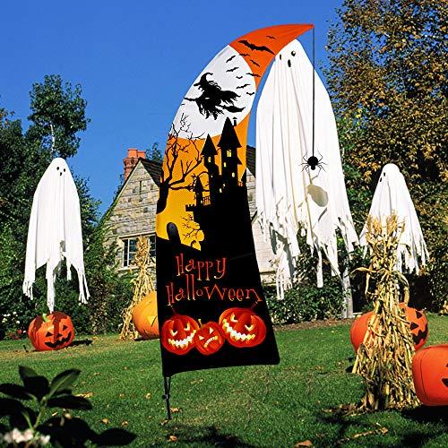 Halloween Deko, 7 Fuß Swooper Flagge Feder Fly Strick Polyester Außen Dekoration, Halloween Horrible Karneval Party Dekorations für Draussen, Garten, Hof