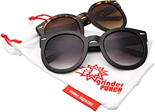 2994fa5d7c70 grinderPUNCH Women s Designer Inspired Oversized Round Circle Sunglasses  Mod Fashion
