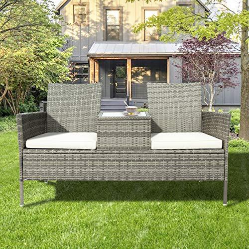Pectt Juego de sofá de mimbre para exteriores, con cojines y mesa extraíbles, moderno sofá de mimbre con mesa de centro integrada para jardín