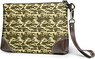 Women's Leather Clutch Camo Joggers Women Teal Zipper Purse Wristlet Mobile Phone Bag