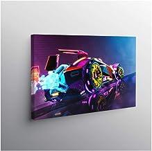 Genetic Los Angeles Xindong neon car Rocket League Vaporwave Digital Art Poster Canvas Painting Wall Art Decor Bedroom Stu...