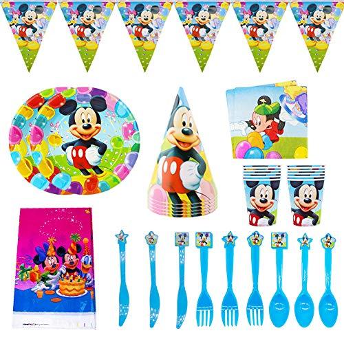 CYSJ 48PCS Set de Fiesta de cumpleaños de Mickey Disney Mickey Mouse Party Decoration Set para 6 Invitados Platos Tazas Servilletas Pack de Fiesta Mickey Mantel Sirve