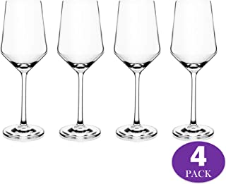 Premium Crystal Wine Glass for White or Red Wines 13oz Lead Free Classic Modern Elegant Shape with Laser Cut Sleek Rims Perfect for Weddings and Gifts - Set of 4