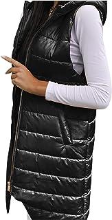 Briskorry Donsvest voor dames, lange wintermantel, licht, mouwloos, doorgestikt vest, extra groot, winddicht, draagbaar, l...