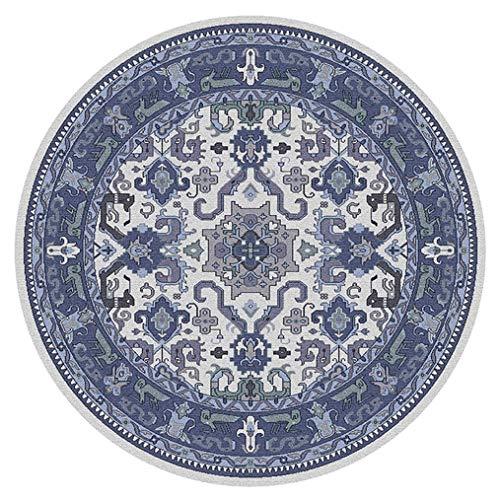 LMXJB Oriental Traditionnel Bordure Classique De Fleurs Bleues en Tapis Rond IntéRieur Et ExtéRieur, Motif Ethnique Et Tapis De Style BohéMien, Tapis en PolypropylèNe,Blueb,Diameter200Cm/79''