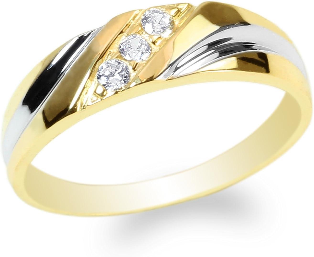 JamesJenny Ladies 10K Yellow Gold Round CZ Beautiful Two Tone Wedding Band Ring Size 4-10