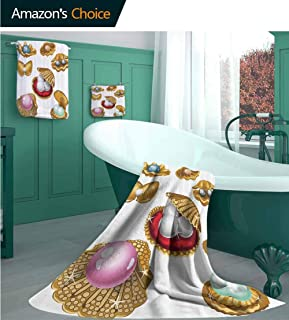 YouXianHome Pearls Decoration Hand Towel Set of 3 Set of Open Shells with Different Type of Pearls Wealth Ancient Gemstone of The Sea Multi