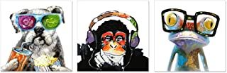 Visual Art Decor Funny Animals Canvas Wall Art Modern Gorilla Monkey Music Oil Painting Wall Picture Happy Dog Frog Canvas Prints Home Office Living Room Decoration (12x12x3)