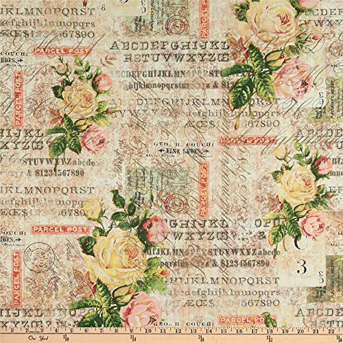FreeSpirit Quilt Fabrics Tim Holtz Electric Elements Wallflower Rose Parcel Quilt Fabric By The Yard, Multicolor