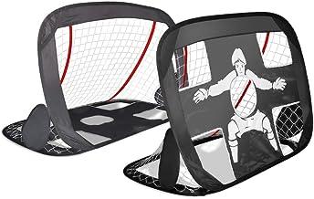 VOUNOT Cage de Foot Portable Lot de 2 pcs But de Football Pliable Cage de Football Pop UP Design 2 en 1 But d'entrainement Cage de Foot Normale avec Sac Rangement et Piquets