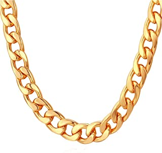 TUOKAY 18K Faux Gold Chain Necklace, 90s Punk Style Costume Jewelry, Hip Hop Turnover Chain (18 inches, 10mm)