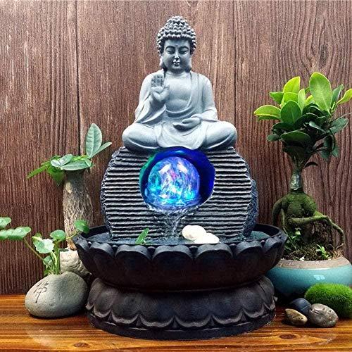 A-Generic Fontane da Interno Decorative Decorazioni Zen Statua Buddha Mestieri Con Sfera Rotolante a LED per Casa Ufficio Camera da Letto