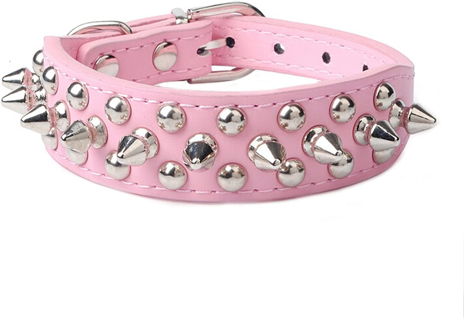 Ewandastore Cute Cool Adjustable PU Leather Collar Necklace Punk Round Head Rivet Nail Dog Chain Leash Dog Collars for Boy Girl Dogs Pet(Pink,L)