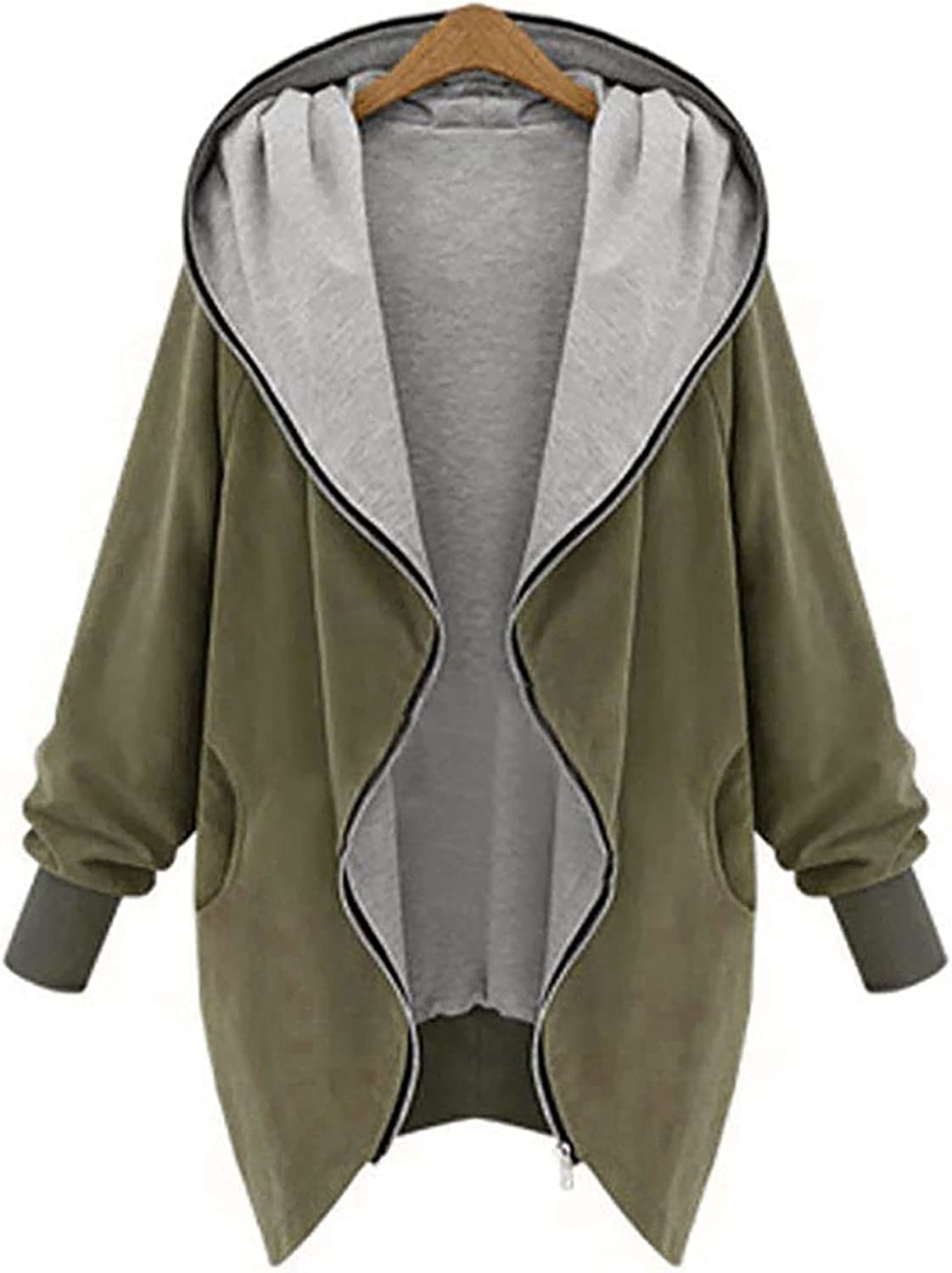 VonVonCo Womens Plus Size Tops Winter Plus Size Long Sleeve Wear A Hat Cardigan Sweater Casual Jacket Coat
