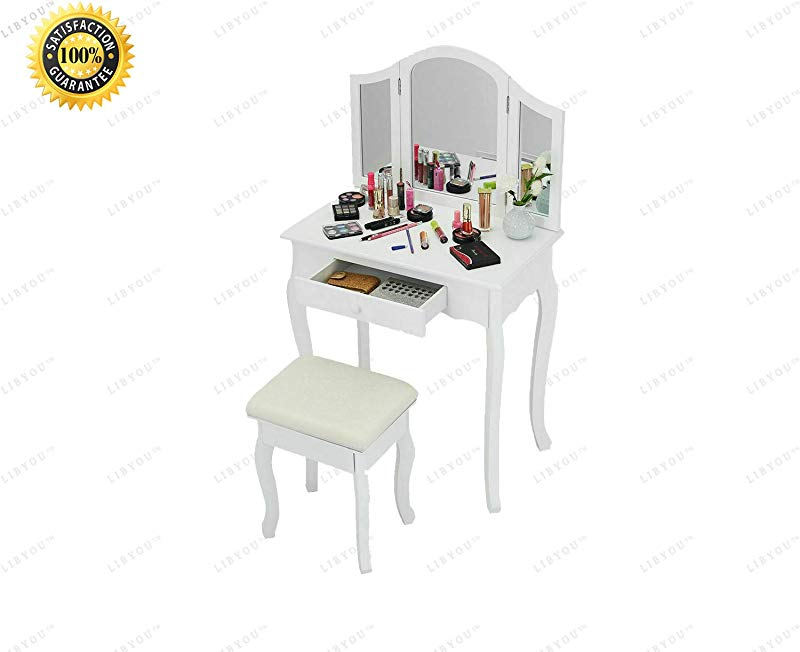 COLIBROX Dressing Up Table Vanity Makeup Table And Stool Set Tri Folding Mirror Vanity Makeup Table Set Home Vanity Desk With Drawers Makeup Table Stool Set Makeup Dressing Table Set