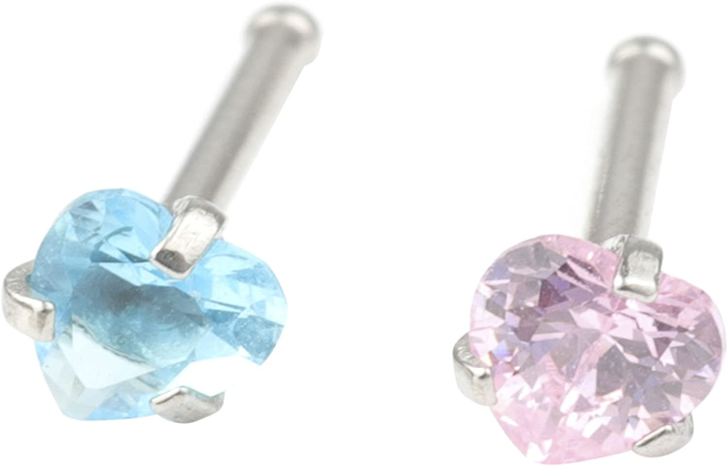 CM's 20G 2 Pcs Stainless Steel Nose Rings Studs Piercing Body Jewelry 2.5mm Blue & Pink Heart Shape Cubic Zirconia
