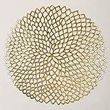 Famibay Runde Platzsets abwaschbar Vinyl Tischsets 6er Set Gold Kunststoff Platzdeckchen (Gold) - 4