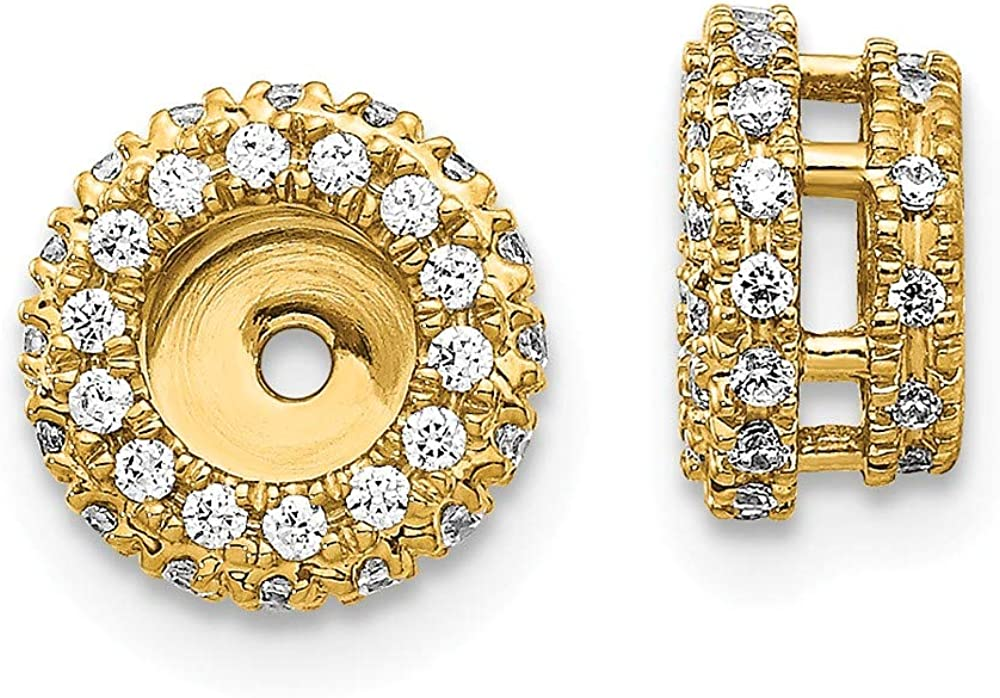 FB Jewels 14k White Gold Diamond Earrings Jacket (0.31
