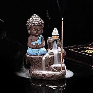 SA SHIVA ARTS Child Buddha Incense Holder Meditating Monk with Smoke Backflow Cone (7x7x12 cm, Blue)