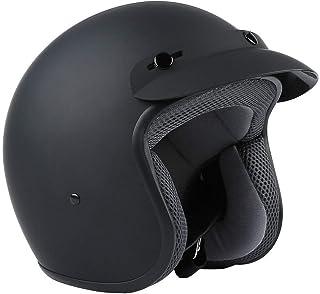 TCT-MT DOT Adult Helmet & Visor 3/4 Open Face Helmet Motorcycle Cafe Racer Scooter Matte Black (Medium)