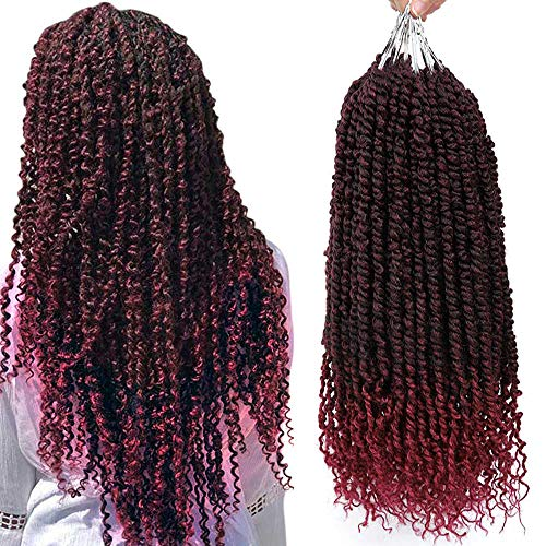 6 PCS Pretwisted Passion Twist Crochet Hair Fashion Burgundy Crochet Braids Passion Pre Twisted Crochet Hair Curly Black Pre Looped Bohemian Braiding Hair Synthetic Hair Extensions(18inch,T1B/BG#)