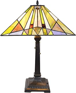 VINLUZ Table Lamp Tiffany-Style Victorian 2 Light 16-inch Mission Stained Art Glass Shade, Retro Traditional Desk Reading Lamp for Bedroom Living Room