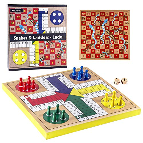 AMEROUS 12 inches Wooden Ludo Board Game - Snakes and Ladders, 2 in 1 Reversible, 1-4 Players Family Dice Games Set for Kids, Adults, Classics Tabletop Version (Gift Box Packed)