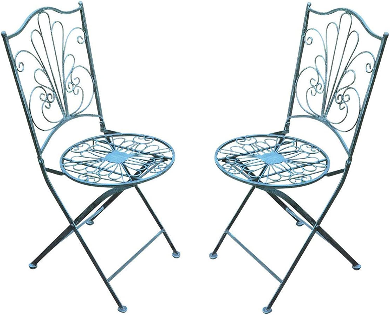 Spetebo Metall Klappstuhl in Vintage grau - 2er Set - Garten Stuhl Bistrostuhl Balkonstuhl