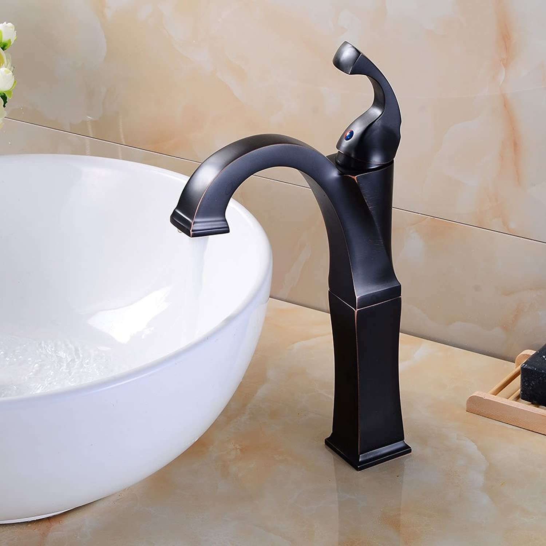 Bathroom Fixtures Basin Faucet,European Black Bronze Above Counter Basin Faucet Retro Bathroom Wash Basin Hot and Cold Faucet Square Single Hole Faucet