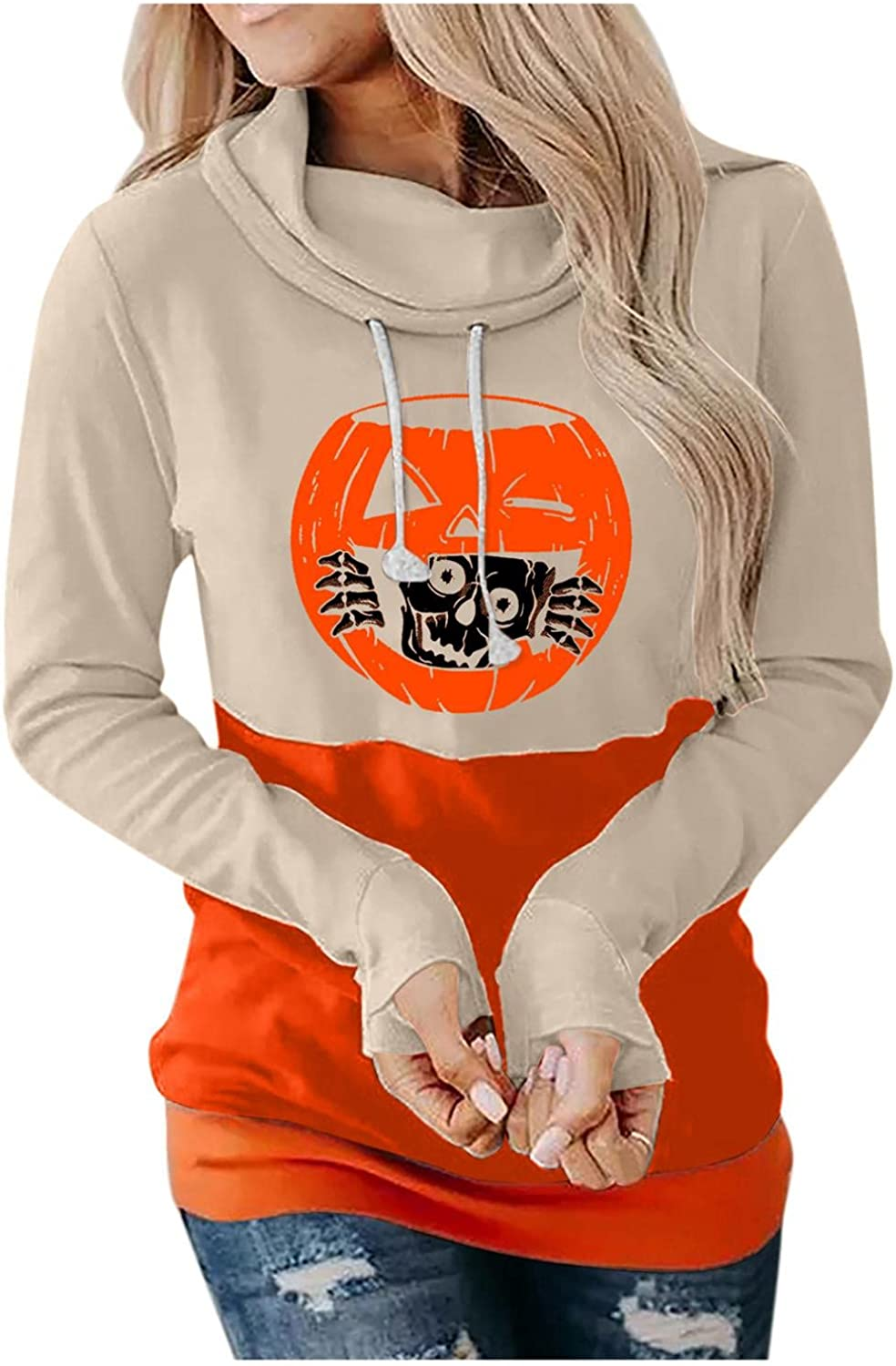Women's Cowl Neck Halloween Horror Graphic Printed Hoodies Sweatshirts Casual Long Sleeve Pullover Hooded Sweater Tops