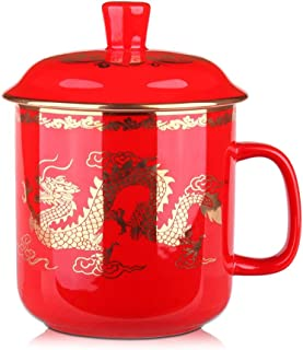 Sunnyhill China Red Dragon Porcelain Ceramic Single Tea Cup Coffee Mug with Lid