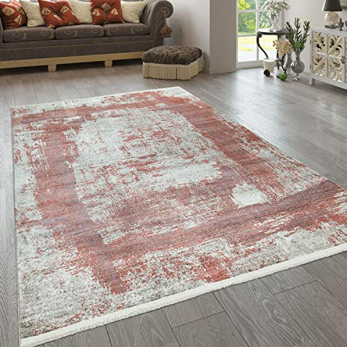 Alfombra Pelo Corto Rojo Beige Salón Diseño Cuadrados Abstracto Aspecto Desgastado, tamaño:200x290 cm