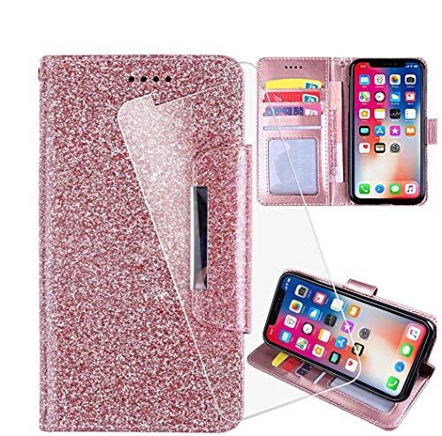 HYMY Hülle für TP-Link Neffos X20 + Schutzfolie - Pink Einfach Stil PU Leder Lederhülle Flip mit Brieftasche Geldbörse Card Slot Handyhülle Cover