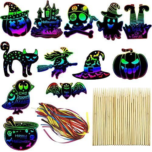 Aviski 60 Pezzi di Carta per Graffi di Halloween, Ornamenti di Halloween, Decorazioni per Halloween, Kit di Arte con Bastone in Legno e Nastro per Bambini, Decorazioni per Feste di Halloween