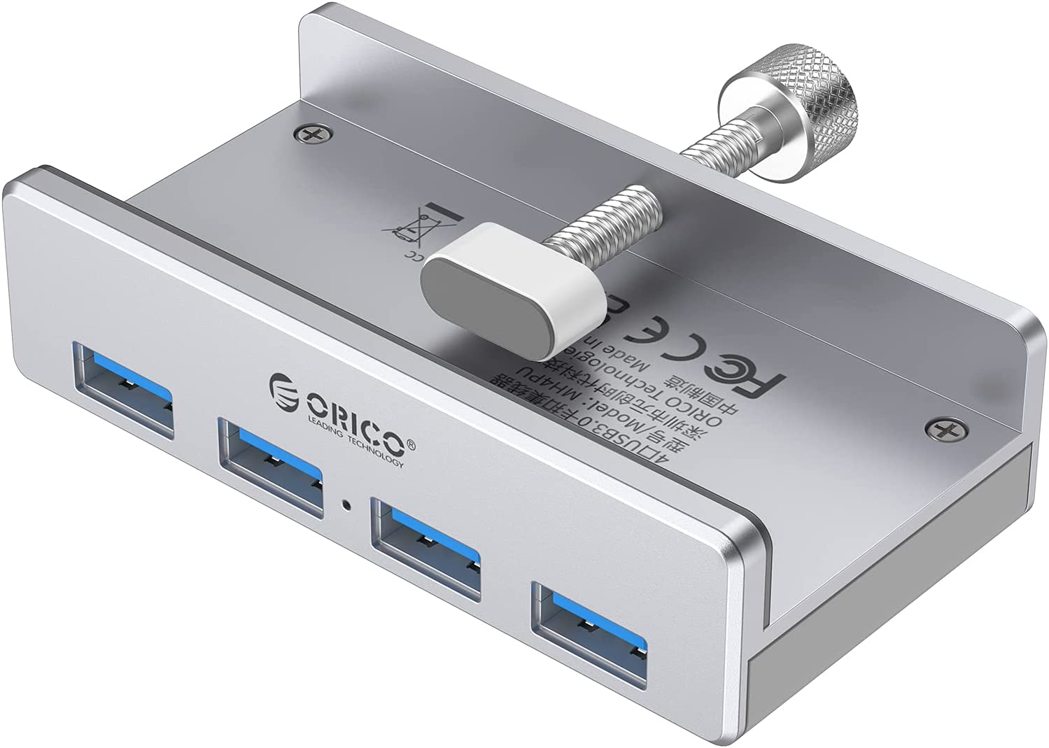 ORICO USB 3.0 Hub Clamp Adapter, Aluminum 4-Port USB Splitter with Extra Power Supply Port and 4.92 FT USB Data Cable, Ultra-Portable USB Expander for MacBook Air/Laptop/PC