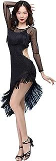 Women's Black Ballroom Latin Costume Tulle Round Neck Long Sleeve Backless Asymmetric Fringe Dance Dress with Shorts
