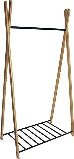 Box and Beyond Portant à vêtements et Chaussures Yaka en Bambou et métal - 1 Barre de penderie / 1 étagère ajourée - Natur...