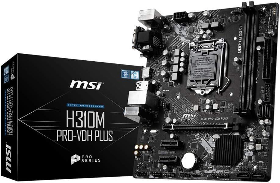 MSI ProSeries Intel Coffee Lake H310 LGA 1151 DDR4 D-Sub DVI HDMI Onboard Graphics Micro ATX Motherboard (H310M PRO-VDH Plus) (Renewed)