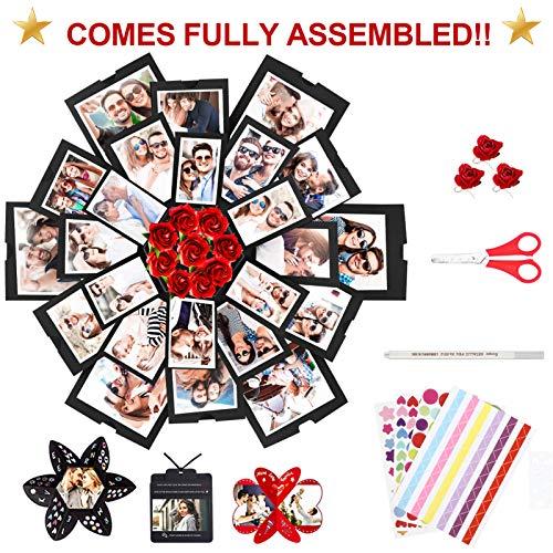 WisFox Explosion Box, Creativo Hecho a Mano Sorpresa Explosión Caja De Regalo Love Memory, Scrapbooking Álbum de Fotos Caja de Regalo para Cumpleaños Día de San Valentín Aniversario Boda Navidad