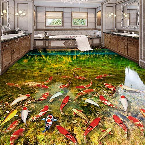 HD River Carp Nature 3D-vloerbedekking badkamer keuken slijtage antislip waterdicht verdikt zelfklevend 3D-wandschilderij behang 430 x 300 cm.