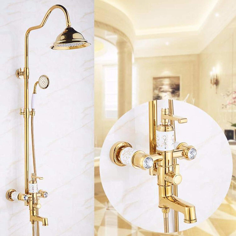 Shower set All Copper Shower Shower Antique Shower Set golden Double Flower Faucet With Lifting,B