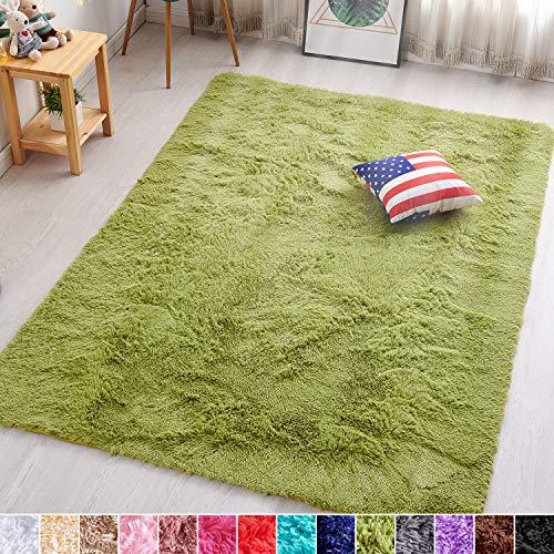 PAGISOFE Green Fluffy Shag Area Rugs for Bedroom 5x7, Soft Fuzzy Shaggy Rugs for Living Room Carpet Nursery Floor Girls Room Dorm Rug