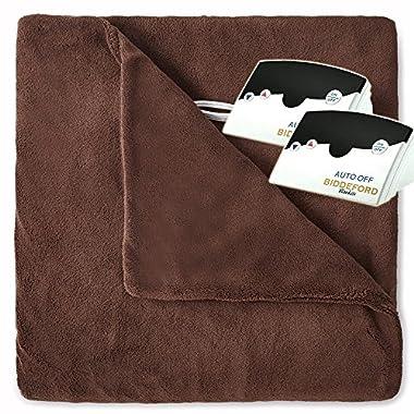 Biddeford 2033-905291-711 MicroPlush Electric Heated Blanket Queen Chocolate