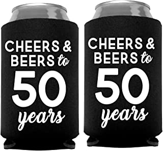 Cheers & Beers to 50 Years Can Coolers, 50th Birthday Party Coolies, Set of 12, Black and White Thirtieth Birthday Cup Coolers, Perfect for Birthday Parties, Birthday Decorations (50 Years)